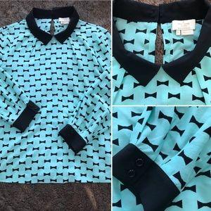 ♠️Kate Spade Tiffany Blue Bow Tie Blouse